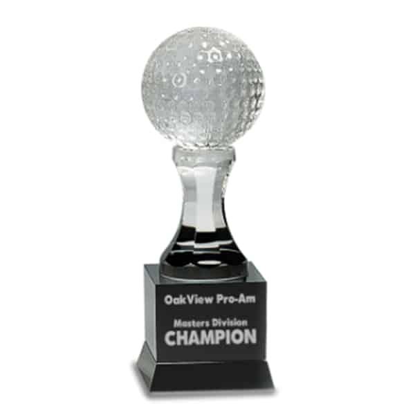 Crystal Golf Ball On Black Pedestal Base