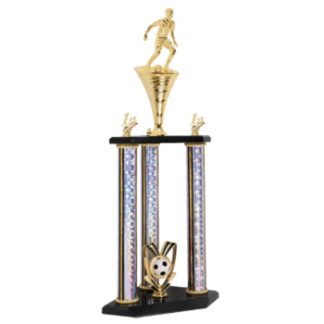 3 post 2 tier soccer trophy