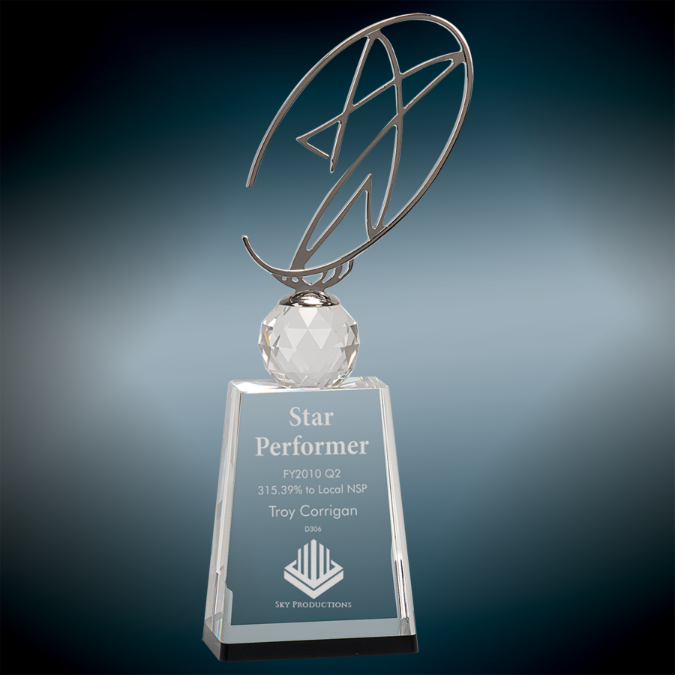 Large Clear & Black Crystal Award with Silver Metal Star