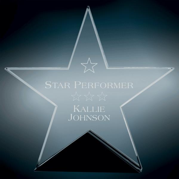 Large Glass Star on Black Base